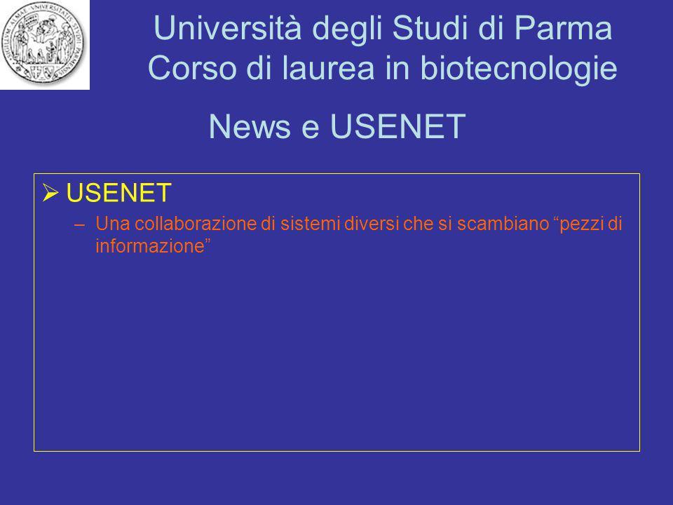 News e USENET USENET Una collaborazione di sistemi diversi che si scambiano pezzi di informazione