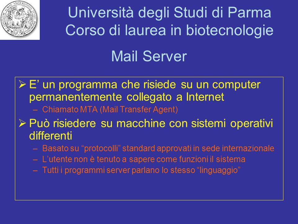 Mail Server E' un programma che risiede su un computer permanentemente collegato a Internet. Chiamato MTA (Mail Transfer Agent)
