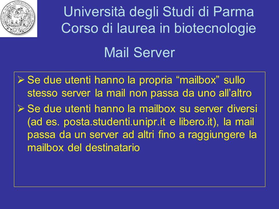Mail Server Se due utenti hanno la propria mailbox sullo stesso server la mail non passa da uno all'altro.