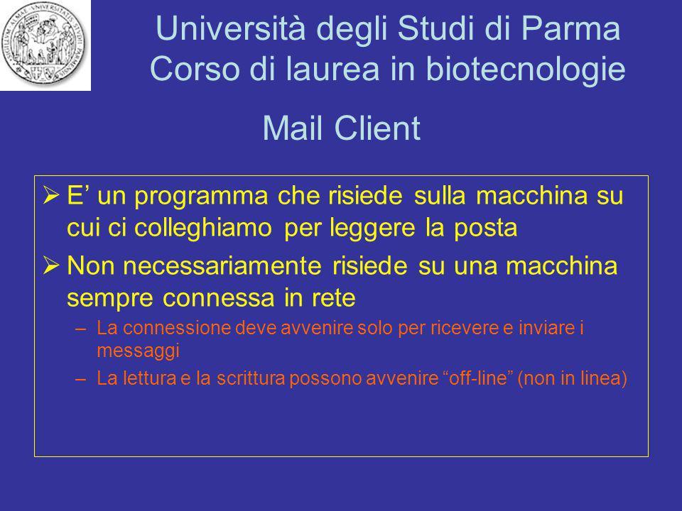 Mail Client E' un programma che risiede sulla macchina su cui ci colleghiamo per leggere la posta.