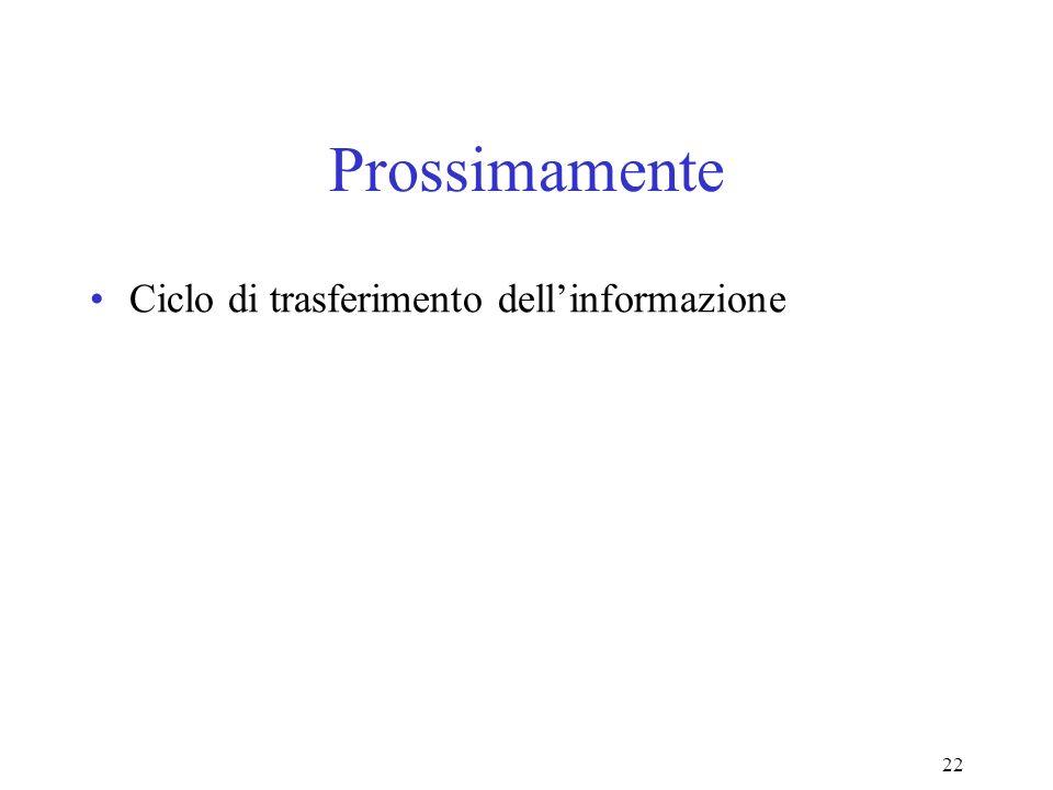 Prossimamente Ciclo di trasferimento dell'informazione