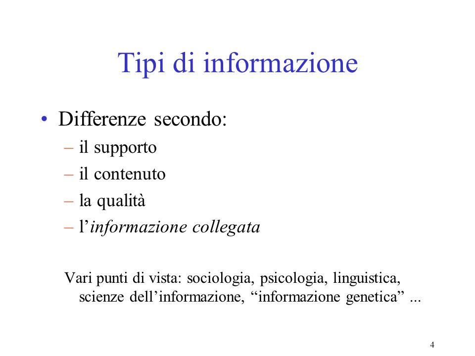 Tipi di informazione Differenze secondo: il supporto il contenuto