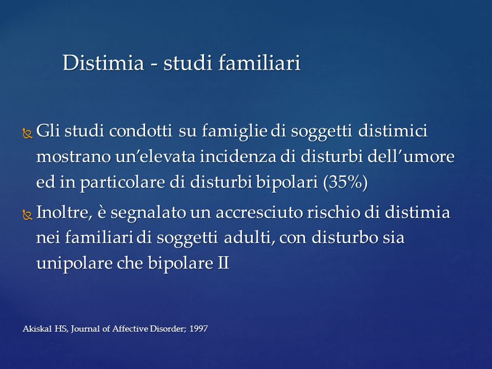 Distimia - studi familiari