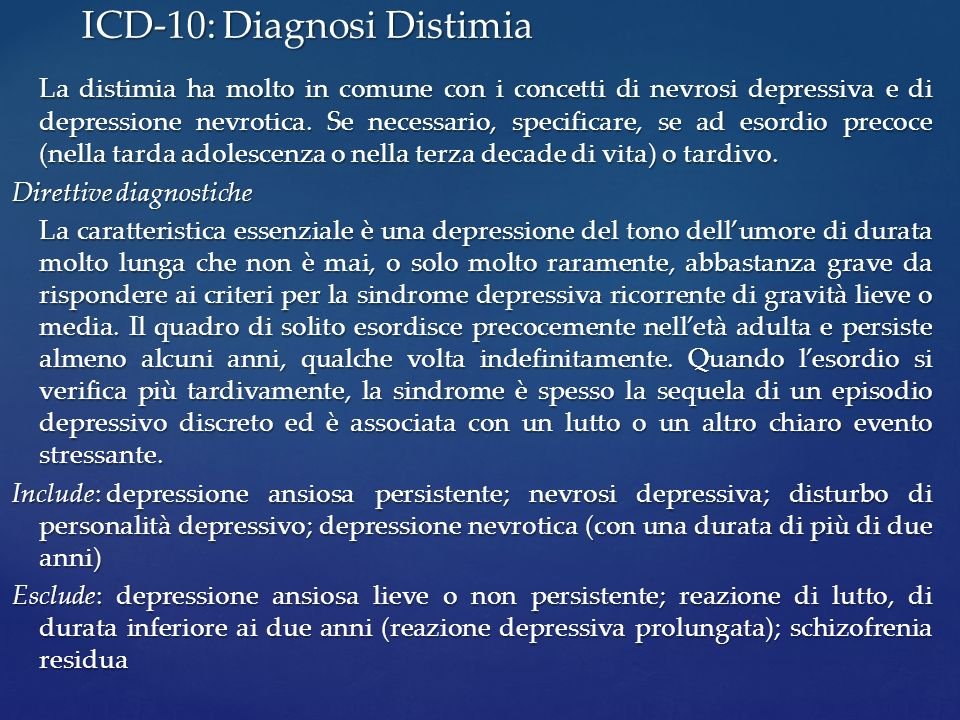 ICD-10: Diagnosi Distimia