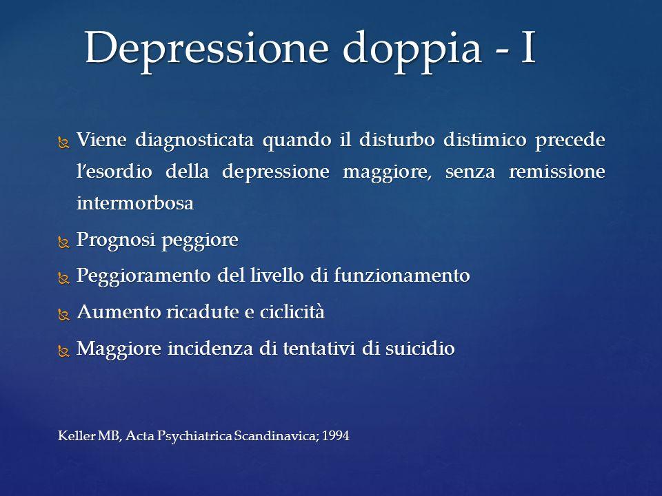 Depressione doppia - IViene diagnosticata quando il disturbo distimico precede l'esordio della depressione maggiore, senza remissione intermorbosa.