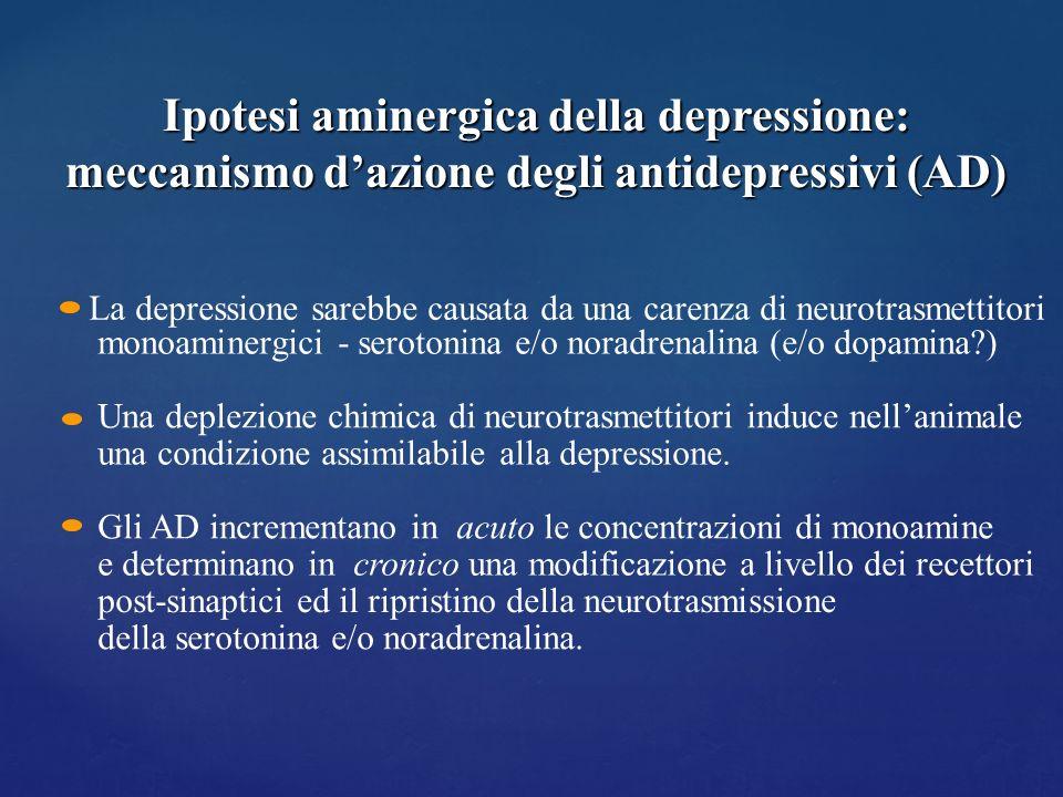 Ipotesi aminergica della depressione: meccanismo d'azione degli antidepressivi (AD)