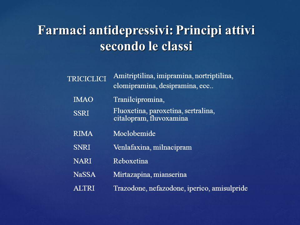 Farmaci antidepressivi: Principi attivi secondo le classi