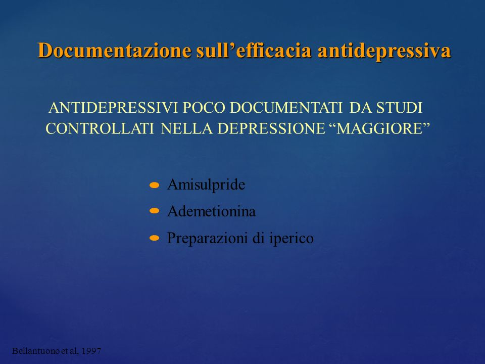 Documentazione sull'efficacia antidepressiva