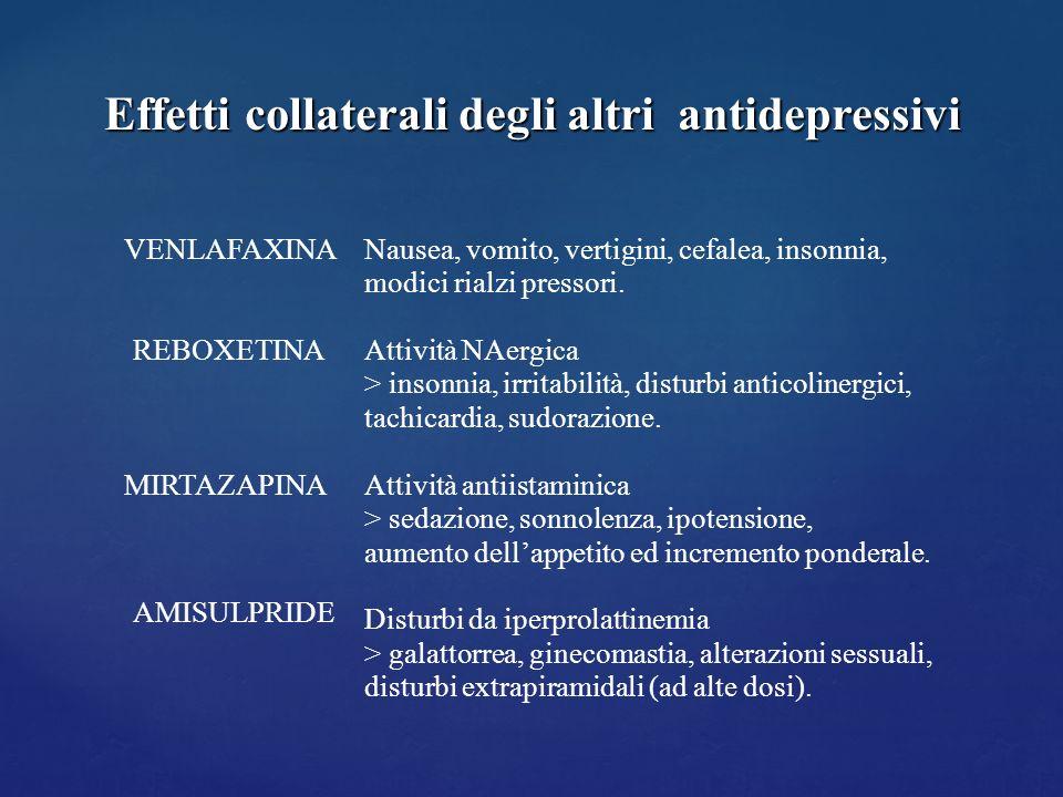 Effetti collaterali degli altri antidepressivi