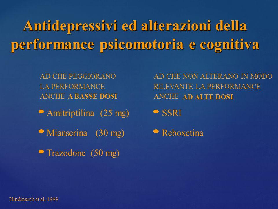 Antidepressivi ed alterazioni della performance psicomotoria e cognitiva