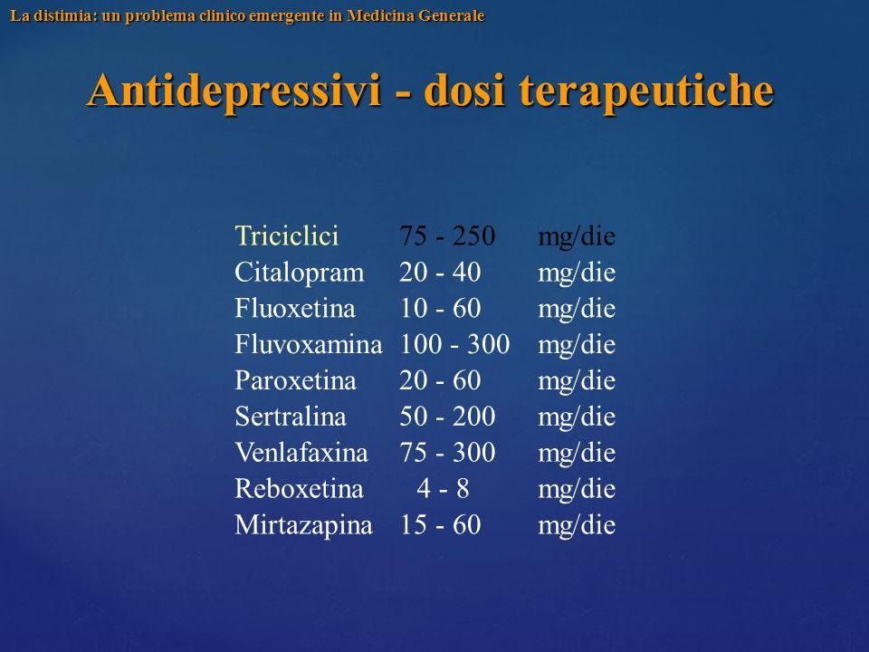 Antidepressivi - dosi terapeutiche