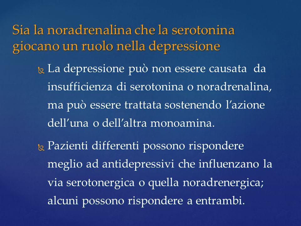 Sia la noradrenalina che la serotonina giocano un ruolo nella depressione