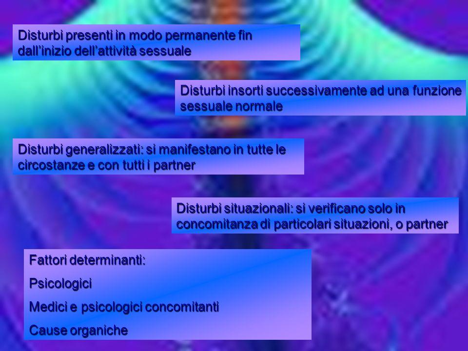Disturbi presenti in modo permanente fin dall'inizio dell'attività sessuale