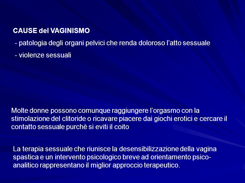 CAUSE del VAGINISMO - patologia degli organi pelvici che renda doloroso l'atto sessuale. - violenze sessuali.