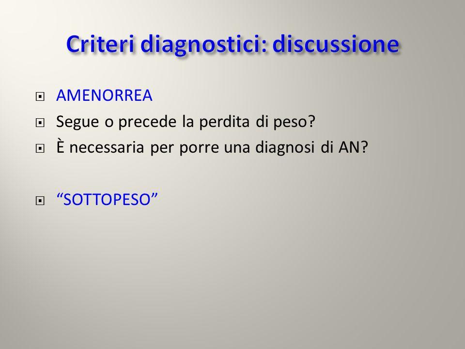 Criteri diagnostici: discussione