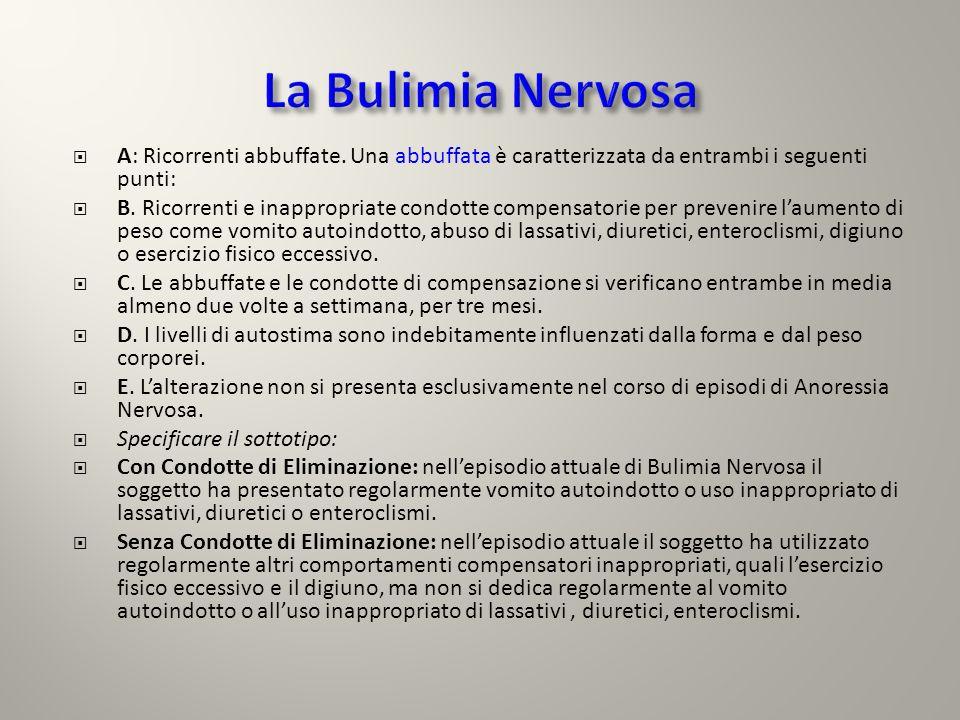 La Bulimia Nervosa A: Ricorrenti abbuffate. Una abbuffata è caratterizzata da entrambi i seguenti punti: