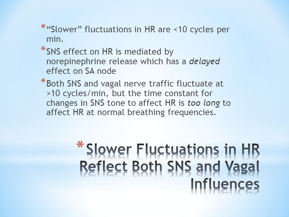 Slower Fluctuations in HR Reflect Both SNS and Vagal Influences