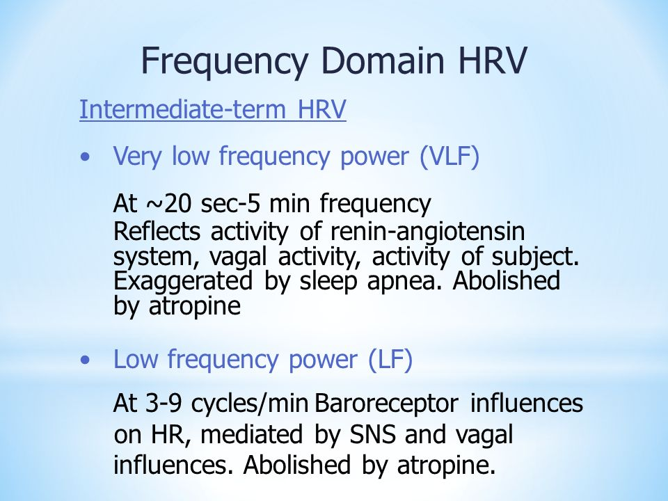 Frequency Domain HRV Intermediate-term HRV