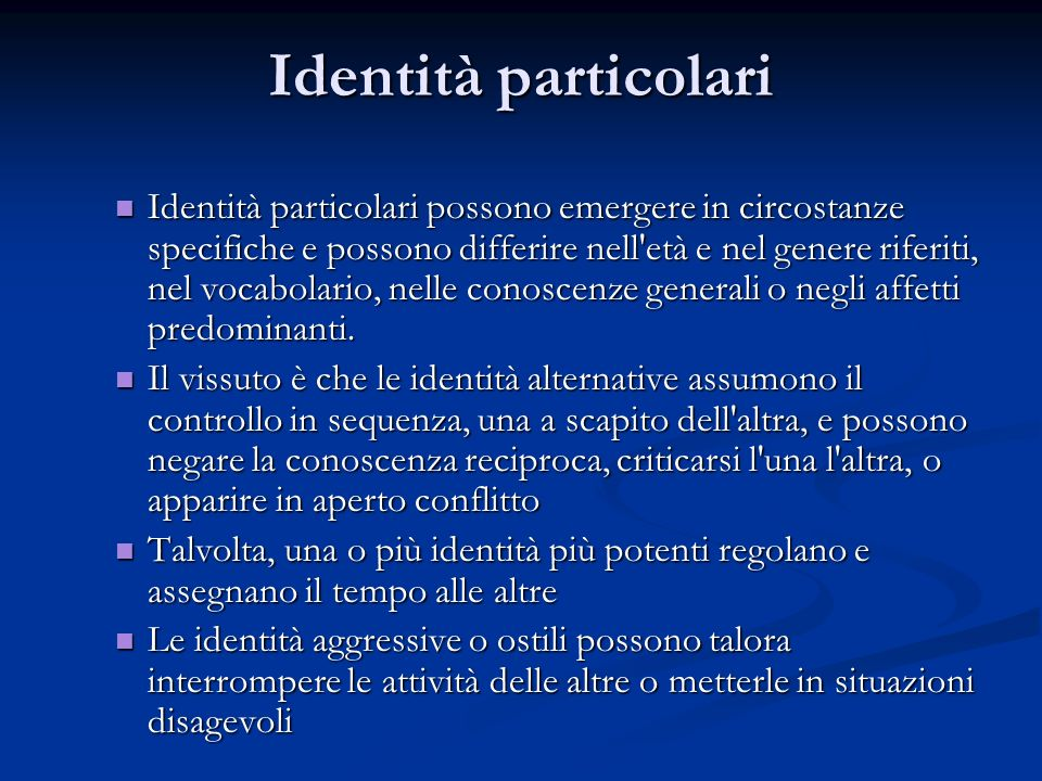 Identità particolari
