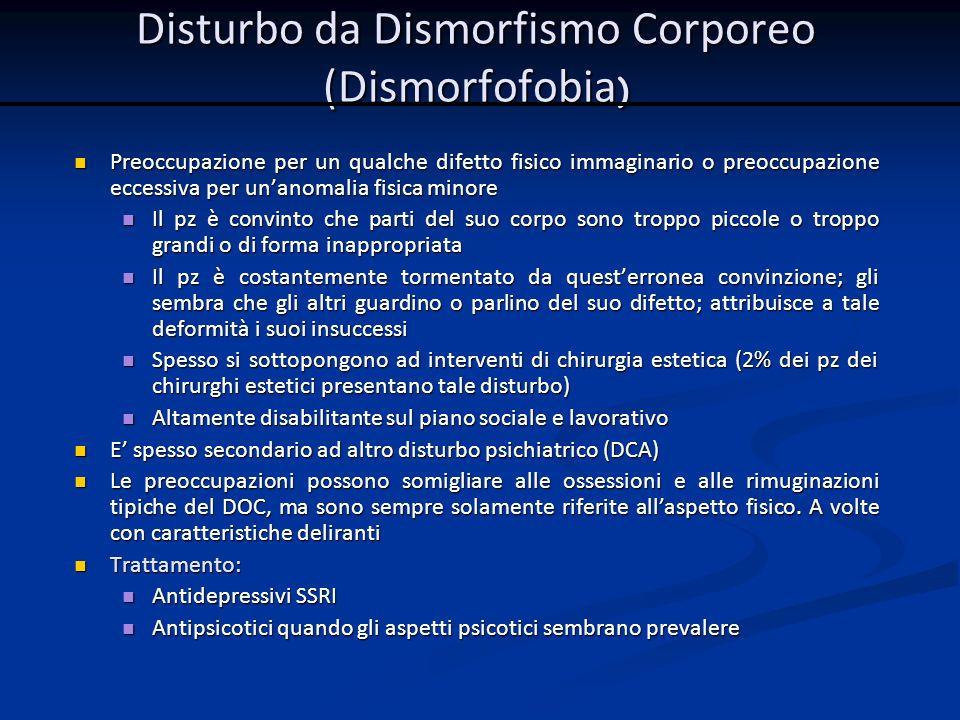Disturbo da Dismorfismo Corporeo (Dismorfofobia)
