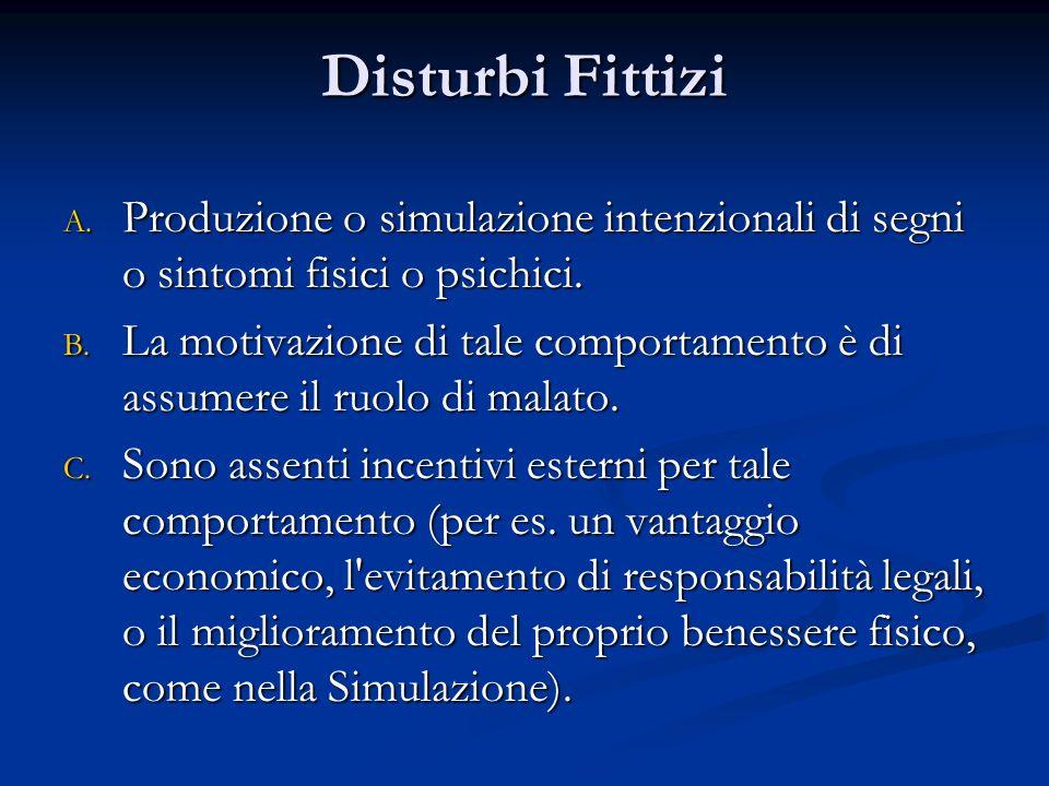 Disturbi Fittizi Produzione o simulazione intenzionali di segni o sintomi fisici o psichici.