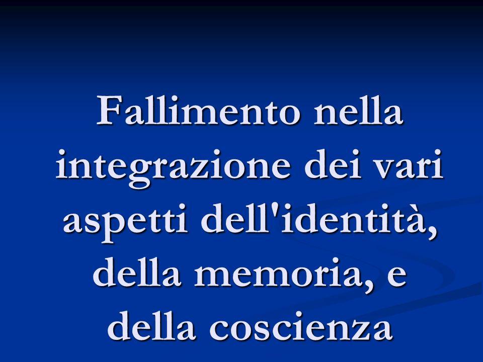 Fallimento nella integrazione dei vari aspetti dell identità, della memoria, e della coscienza