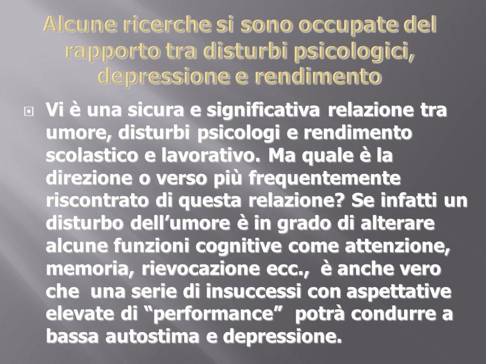 Alcune ricerche si sono occupate del rapporto tra disturbi psicologici, depressione e rendimento