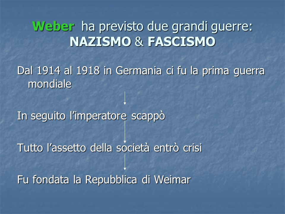 Weber ha previsto due grandi guerre: NAZISMO & FASCISMO