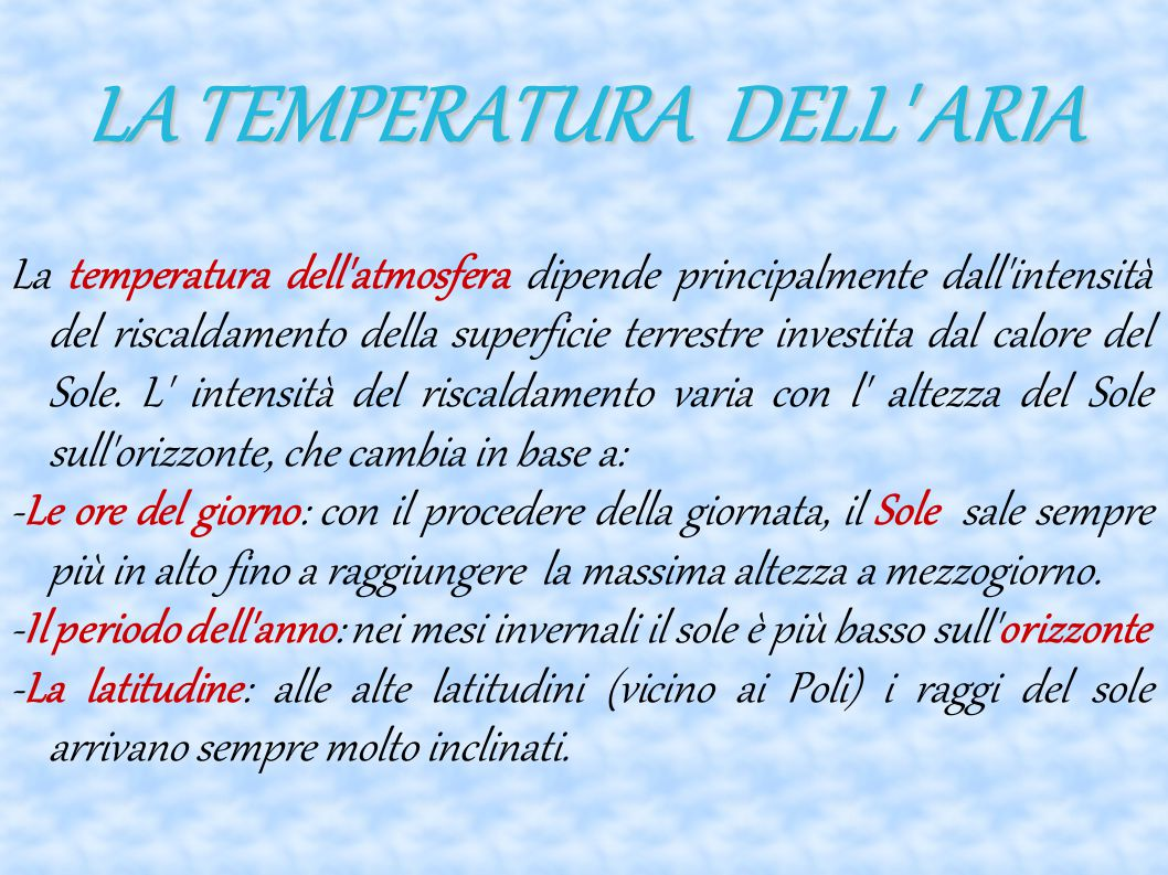 LA TEMPERATURA DELL ARIA