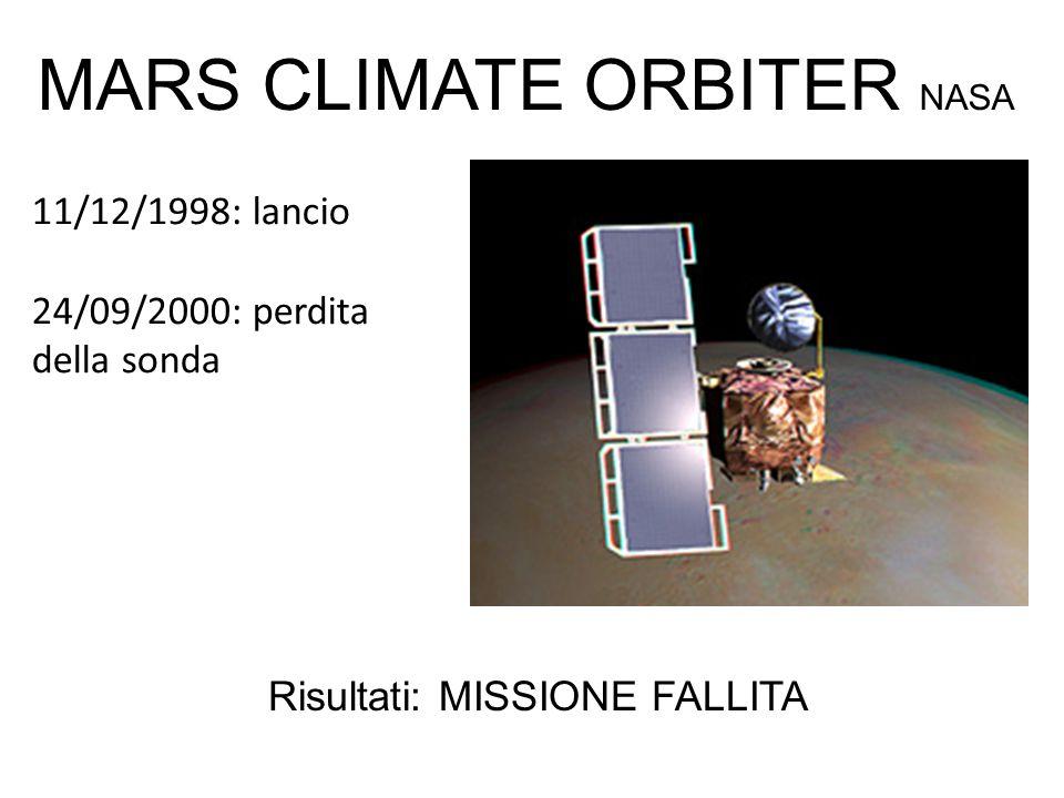 11/12/1998: lancio 24/09/2000: perdita della sonda