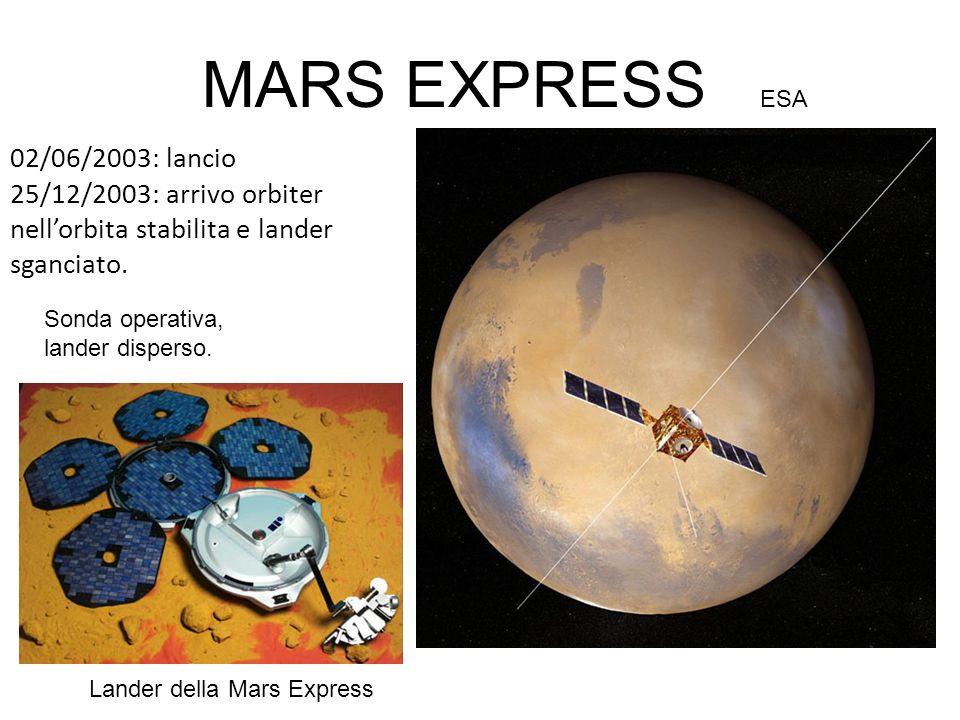 MARS EXPRESS ESA 02/06/2003: lancio 25/12/2003: arrivo orbiter nell'orbita stabilita e lander sganciato.