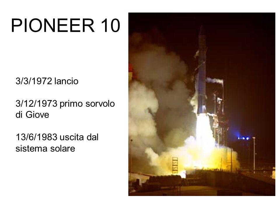 PIONEER 10 3/3/1972 lancio 3/12/1973 primo sorvolo di Giove 13/6/1983 uscita dal sistema solare