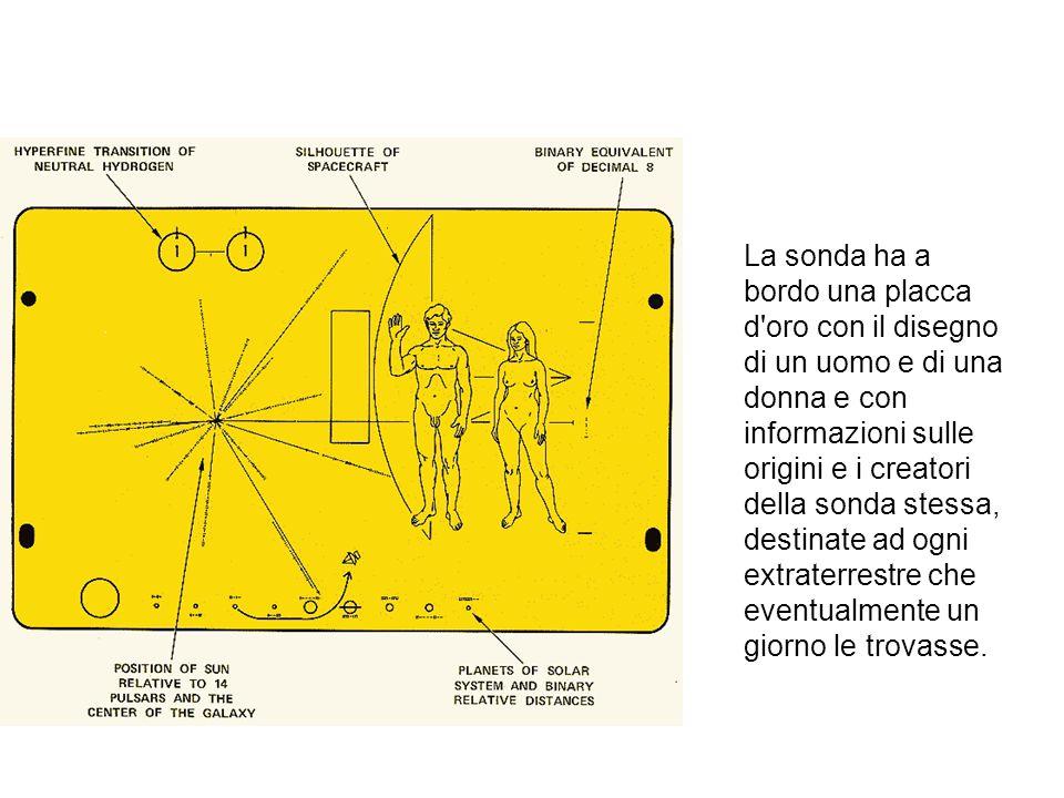 La sonda ha a bordo una placca d oro con il disegno di un uomo e di una donna e con informazioni sulle origini e i creatori della sonda stessa, destinate ad ogni extraterrestre che eventualmente un giorno le trovasse.