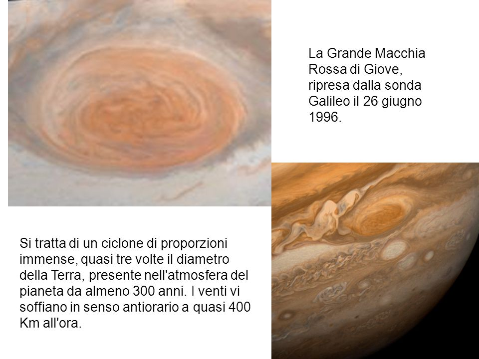 La Grande Macchia Rossa di Giove, ripresa dalla sonda Galileo il 26 giugno 1996.