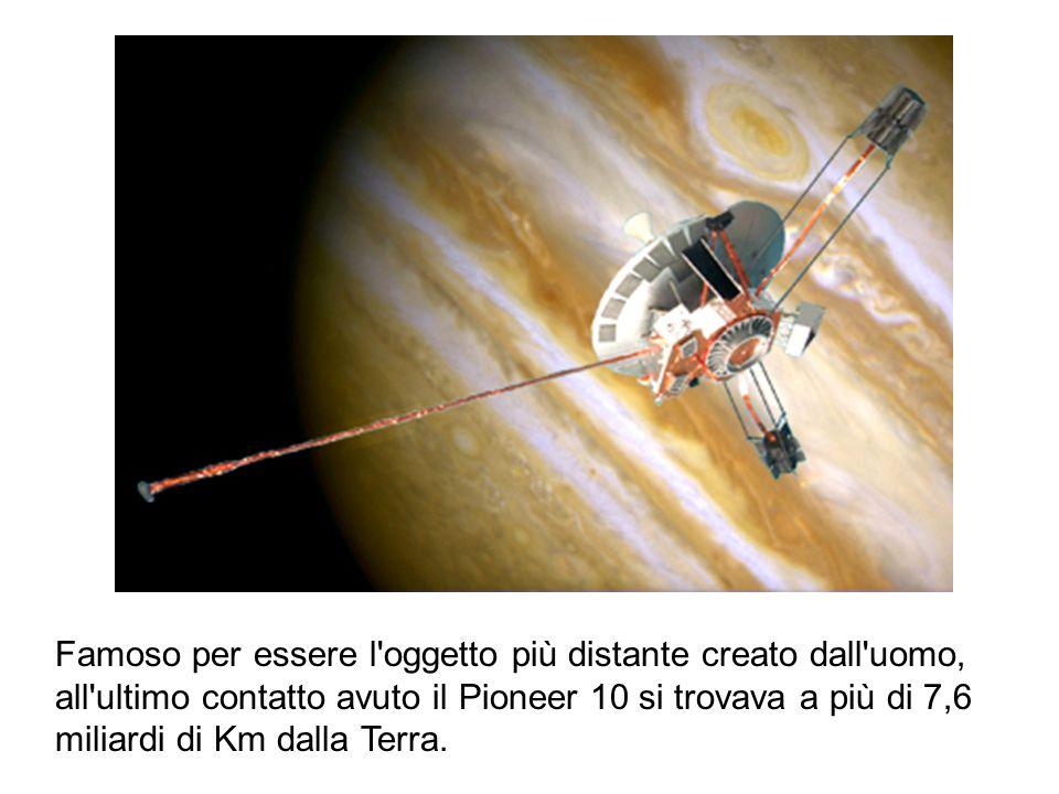 Famoso per essere l oggetto più distante creato dall uomo, all ultimo contatto avuto il Pioneer 10 si trovava a più di 7,6 miliardi di Km dalla Terra.