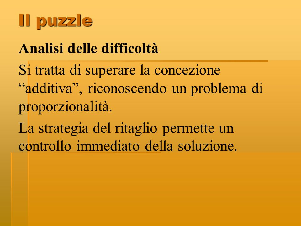 Il puzzle Analisi delle difficoltà