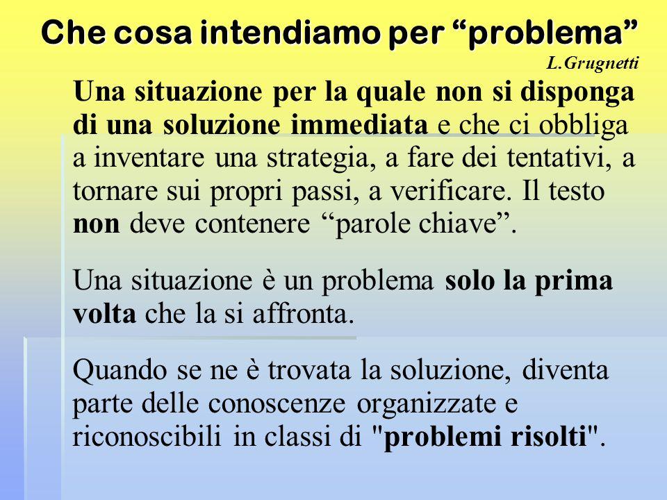 Che cosa intendiamo per problema L.Grugnetti