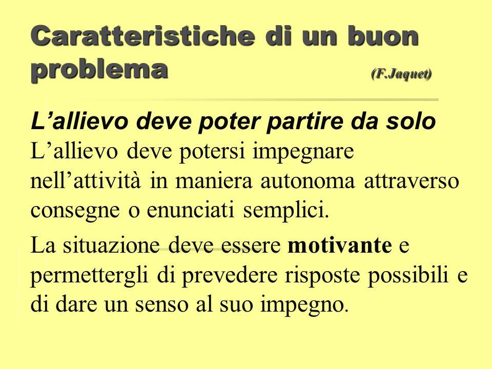 Caratteristiche di un buon problema (F.Jaquet)