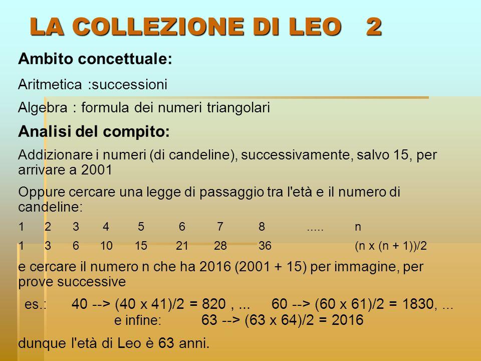 LA COLLEZIONE DI LEO 2 Ambito concettuale: Analisi del compito:
