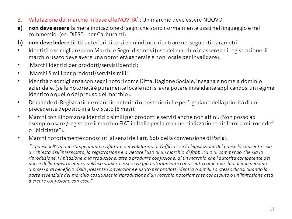 Valutazione del marchio in base alla NOVITA' : Un marchio deve essere NUOVO.