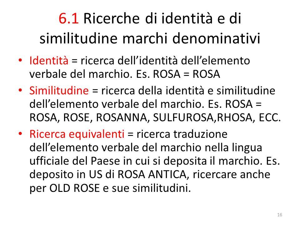 6.1 Ricerche di identità e di similitudine marchi denominativi