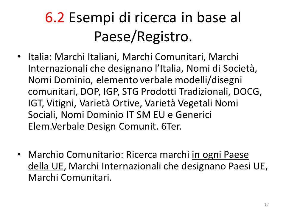 6.2 Esempi di ricerca in base al Paese/Registro.