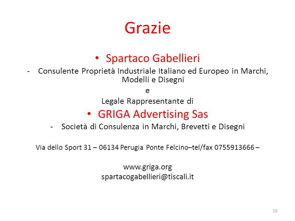 Grazie Spartaco Gabellieri GRIGA Advertising Sas
