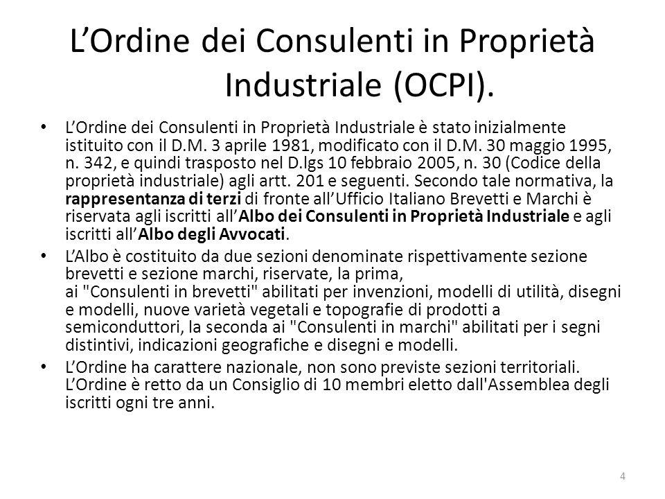 L'Ordine dei Consulenti in Proprietà Industriale (OCPI).