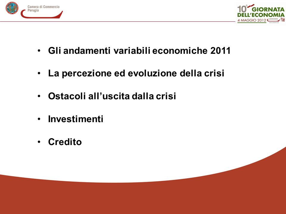 Gli andamenti variabili economiche 2011