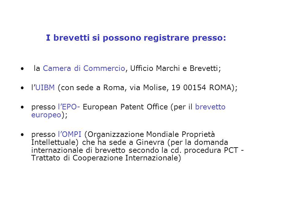 I brevetti si possono registrare presso: