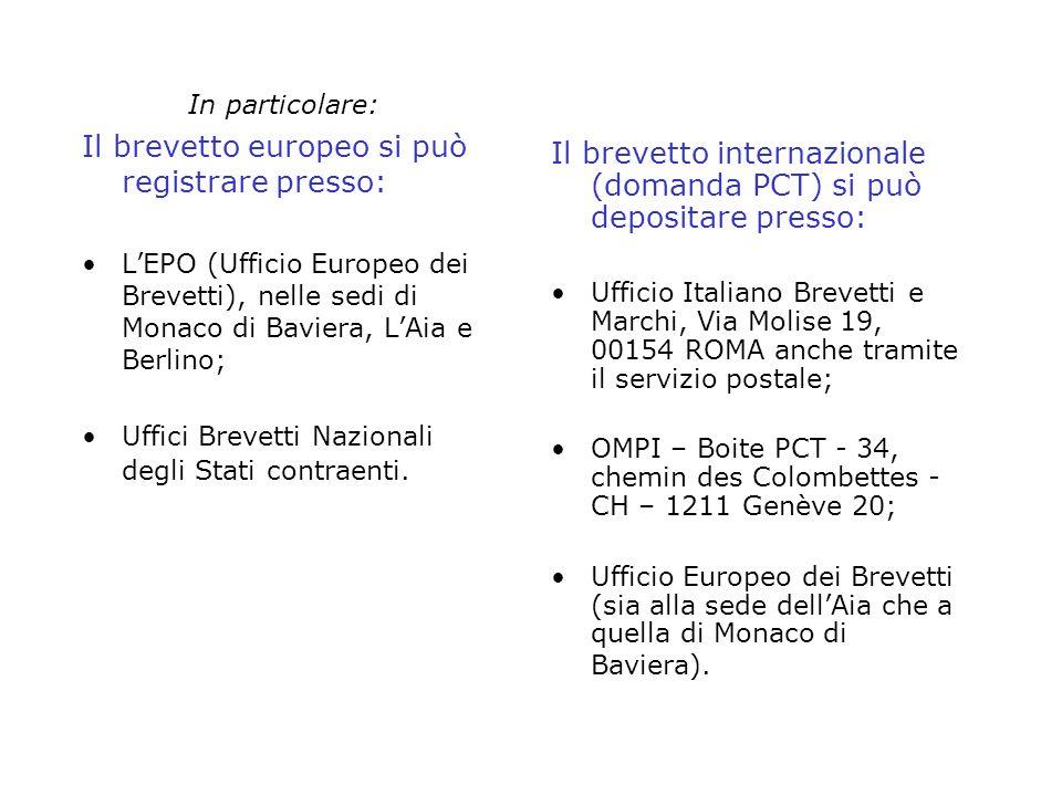 Il brevetto europeo si può registrare presso: