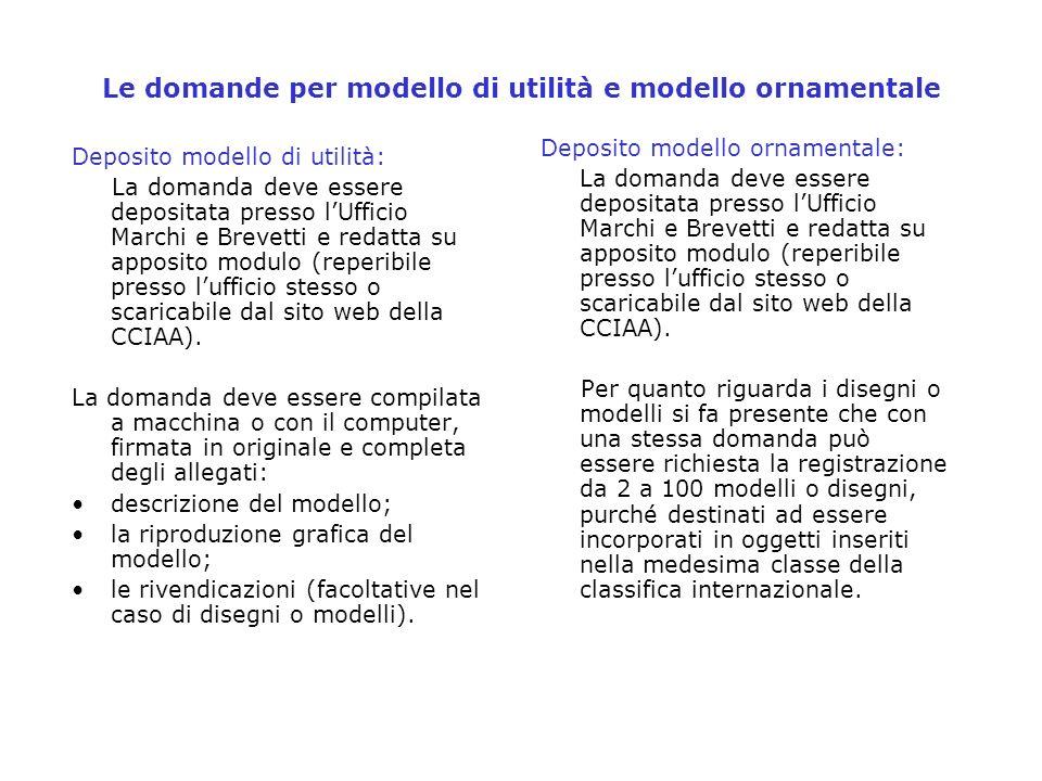 Le domande per modello di utilità e modello ornamentale