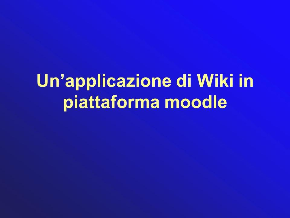 Un'applicazione di Wiki in piattaforma moodle