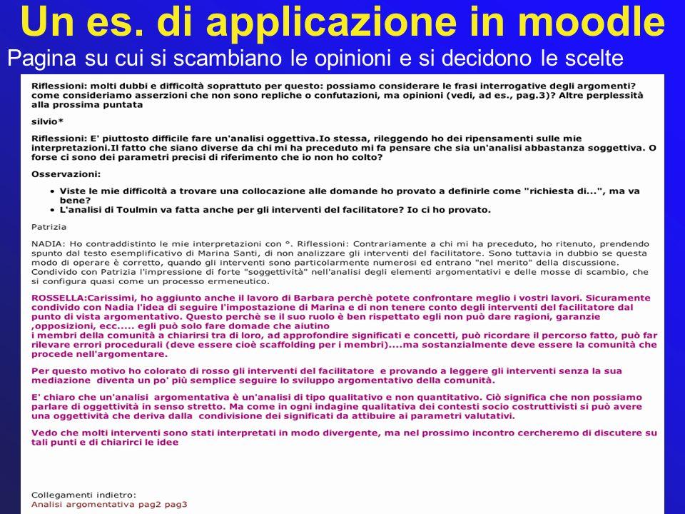 Un es. di applicazione in moodle